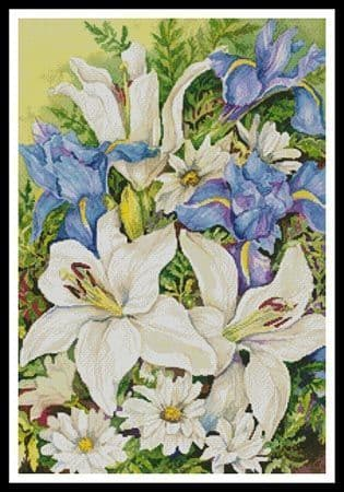 A Blue and White Mix by Artecy printed cross stitch chart